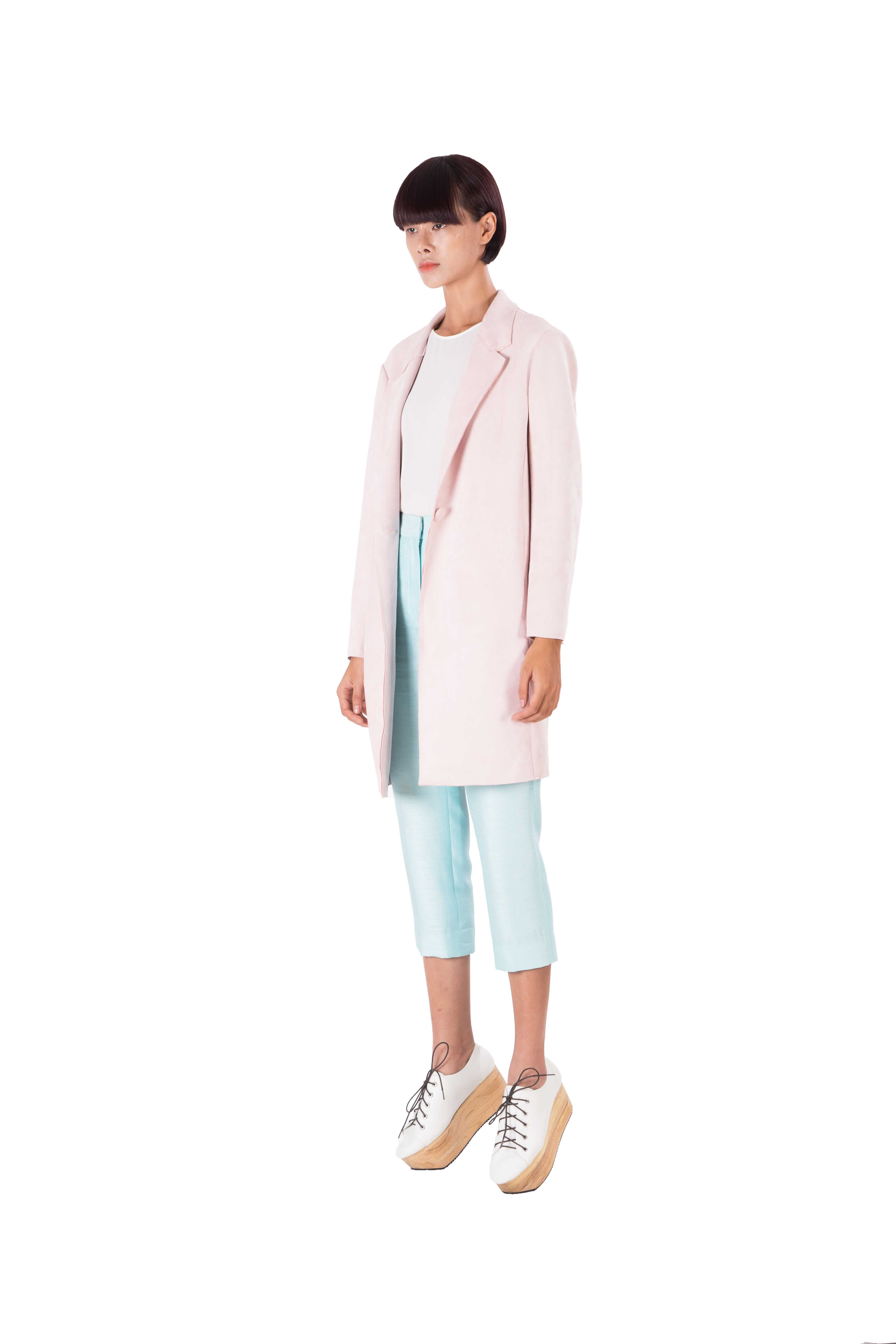 Pink simili leather loose fitting jacket