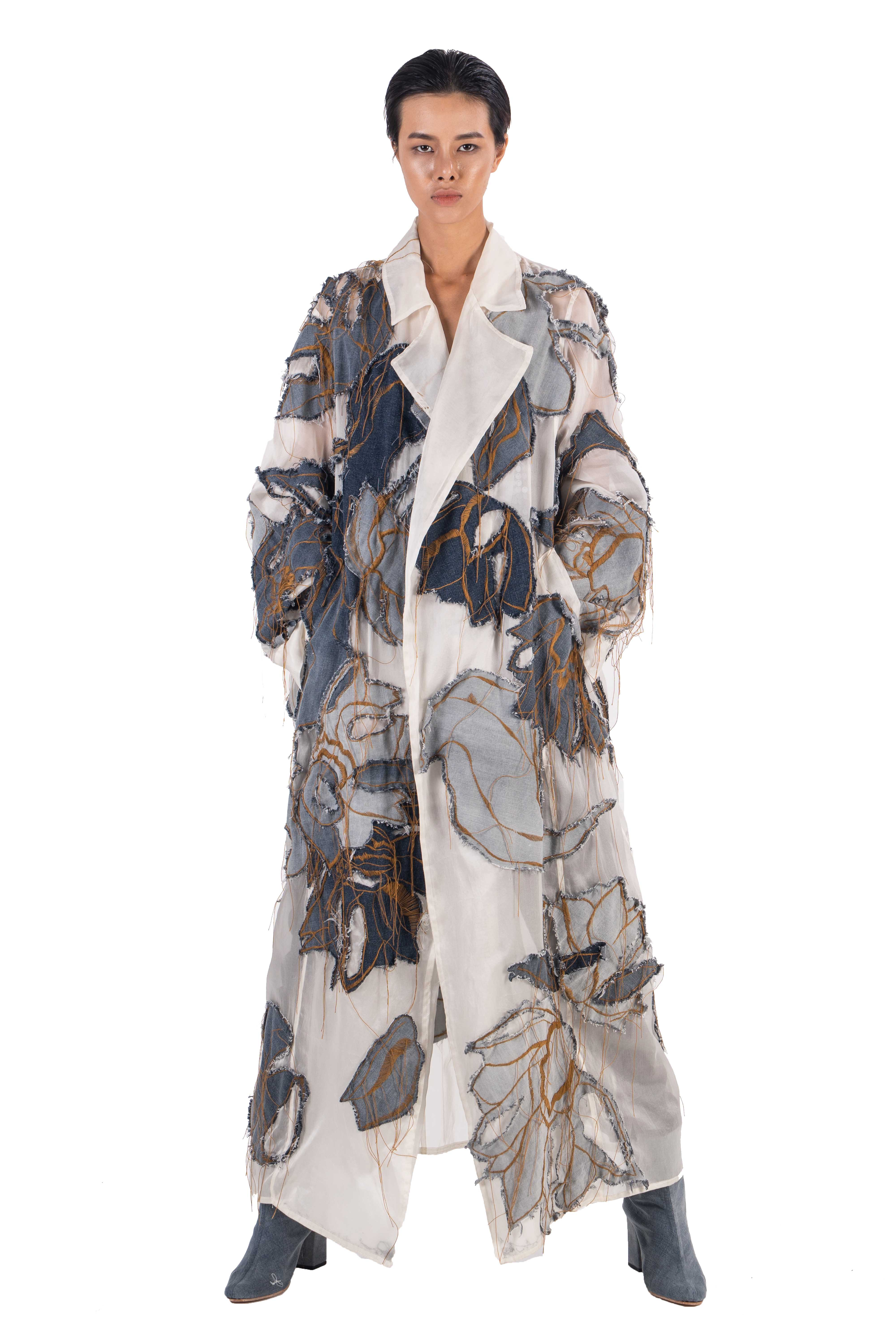 Silk organza long coat with hand embroidery and applique jean lotus flowers and leaves