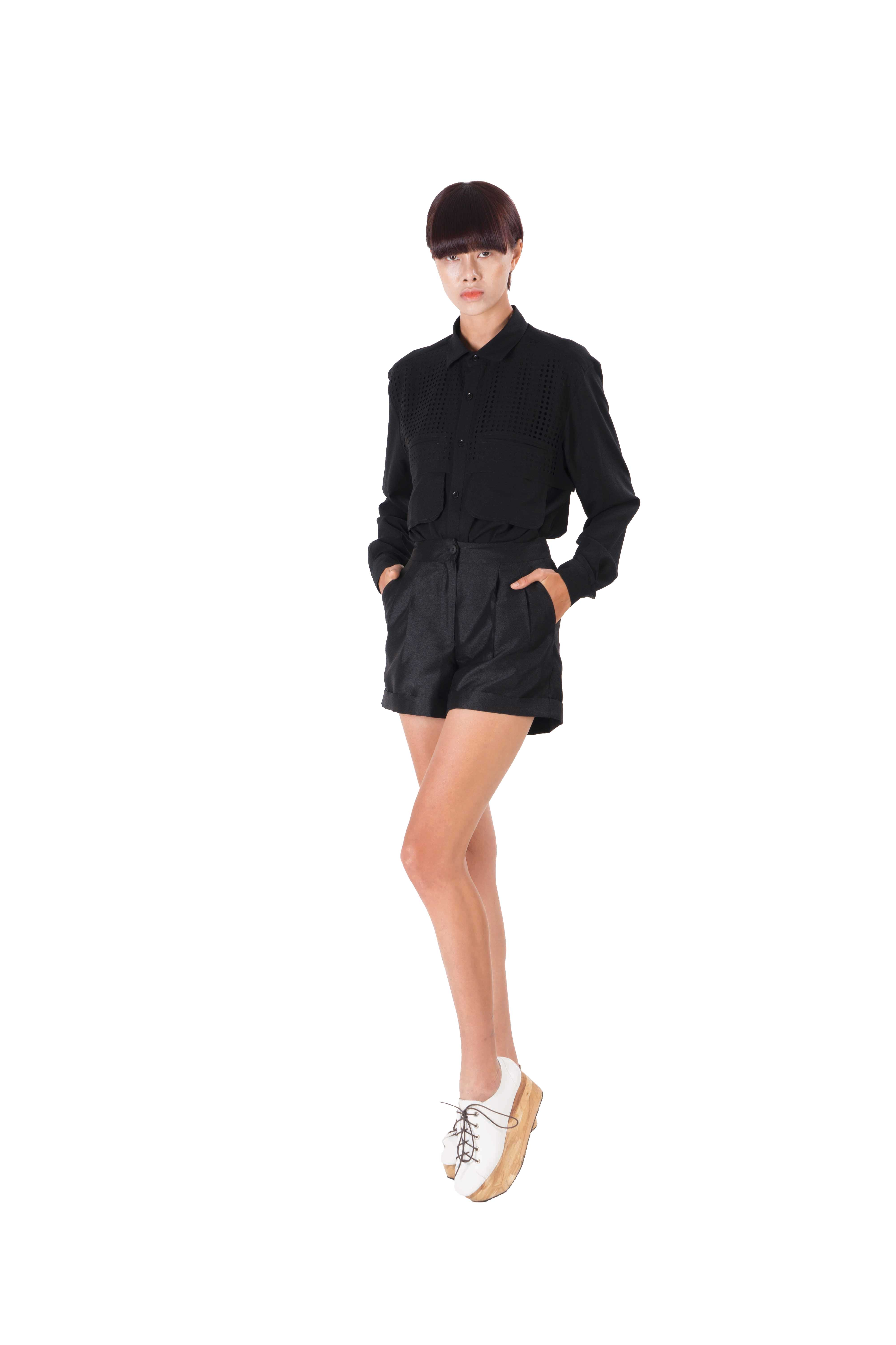 Black silk blend shirt with front lazer cut out pocket  detailing
