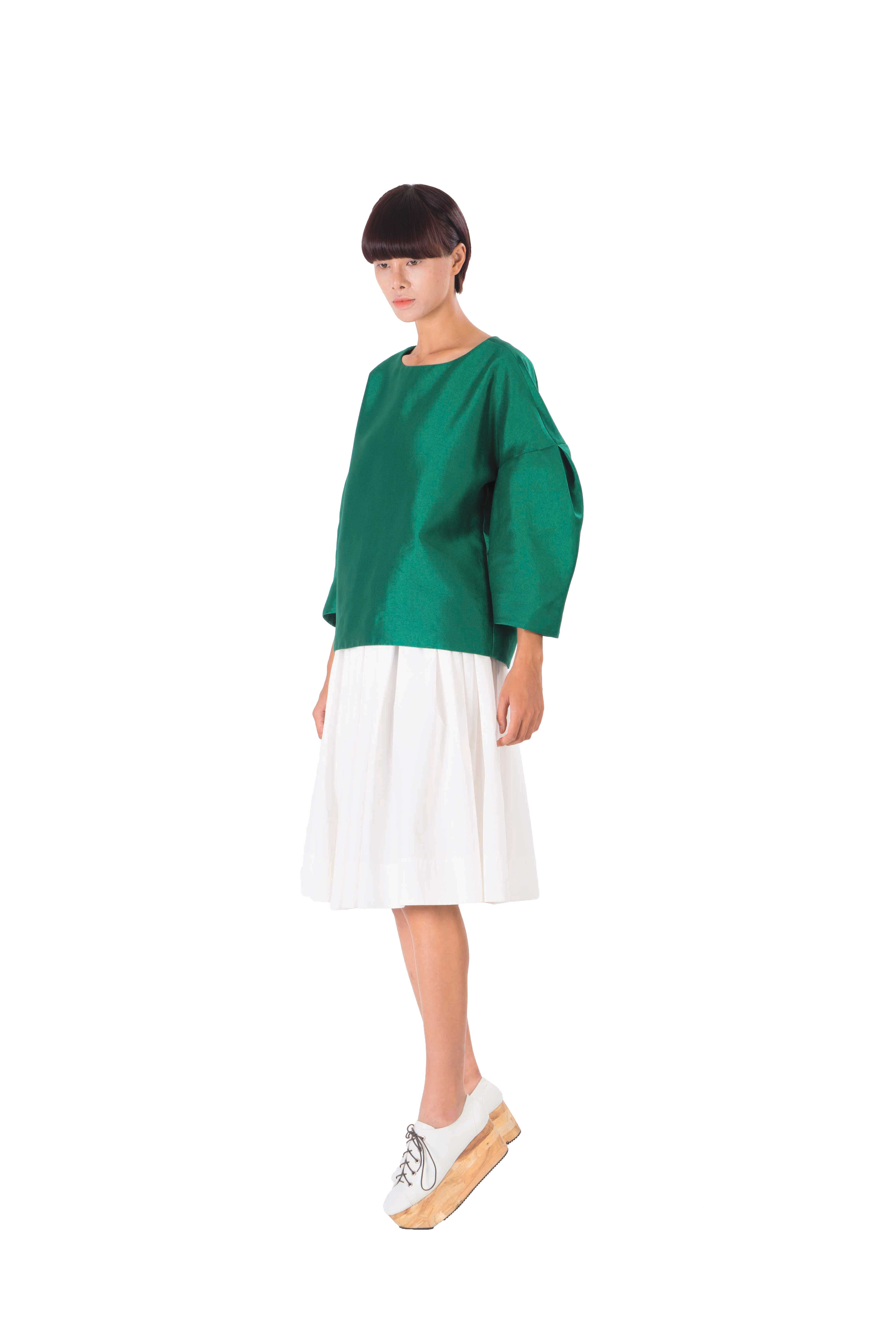Green taffeta loose fitting top
