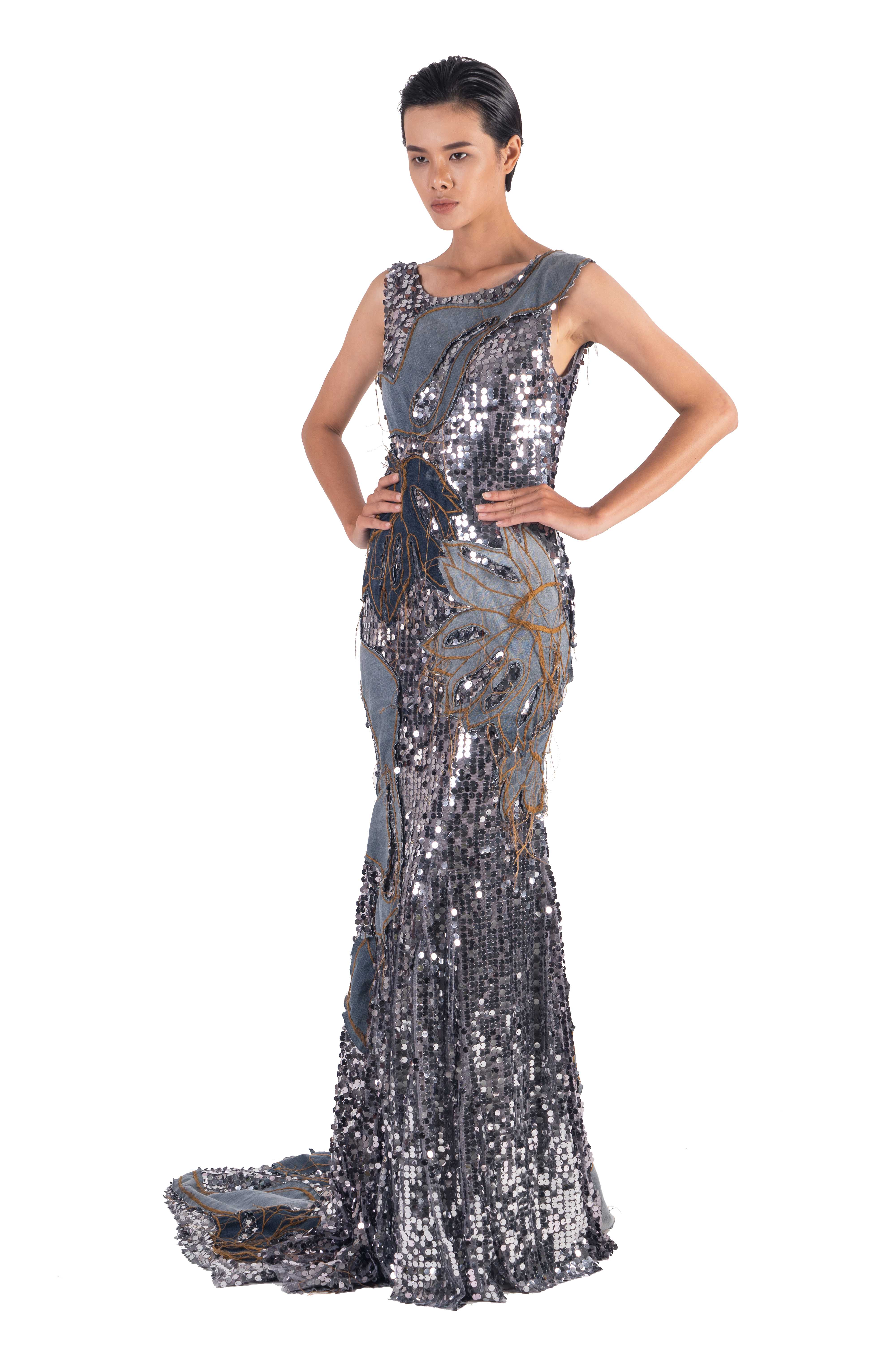 Long tail sequin evening dress with washed denim hand applique