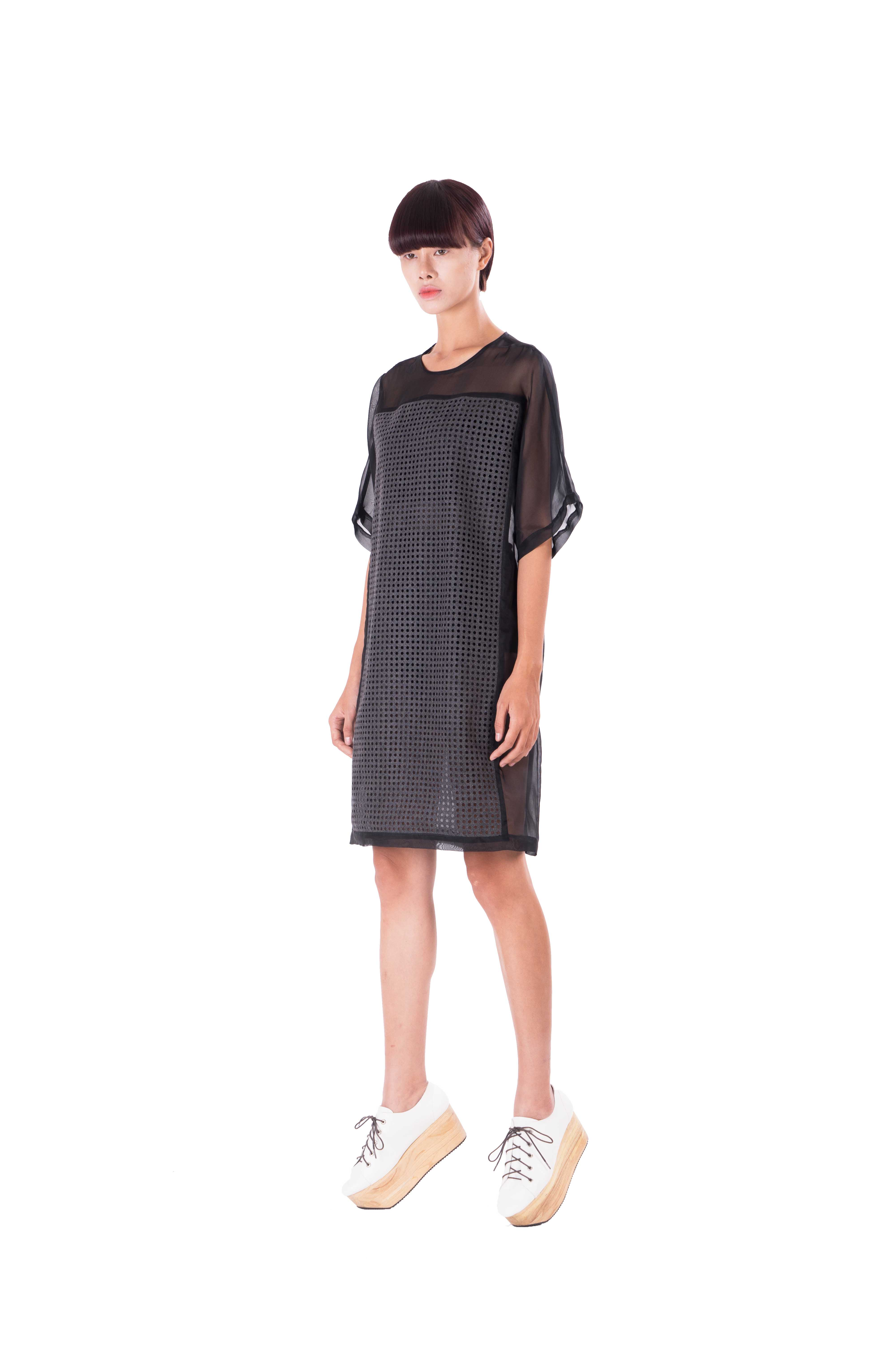 Boxy style dress organza and wool blend