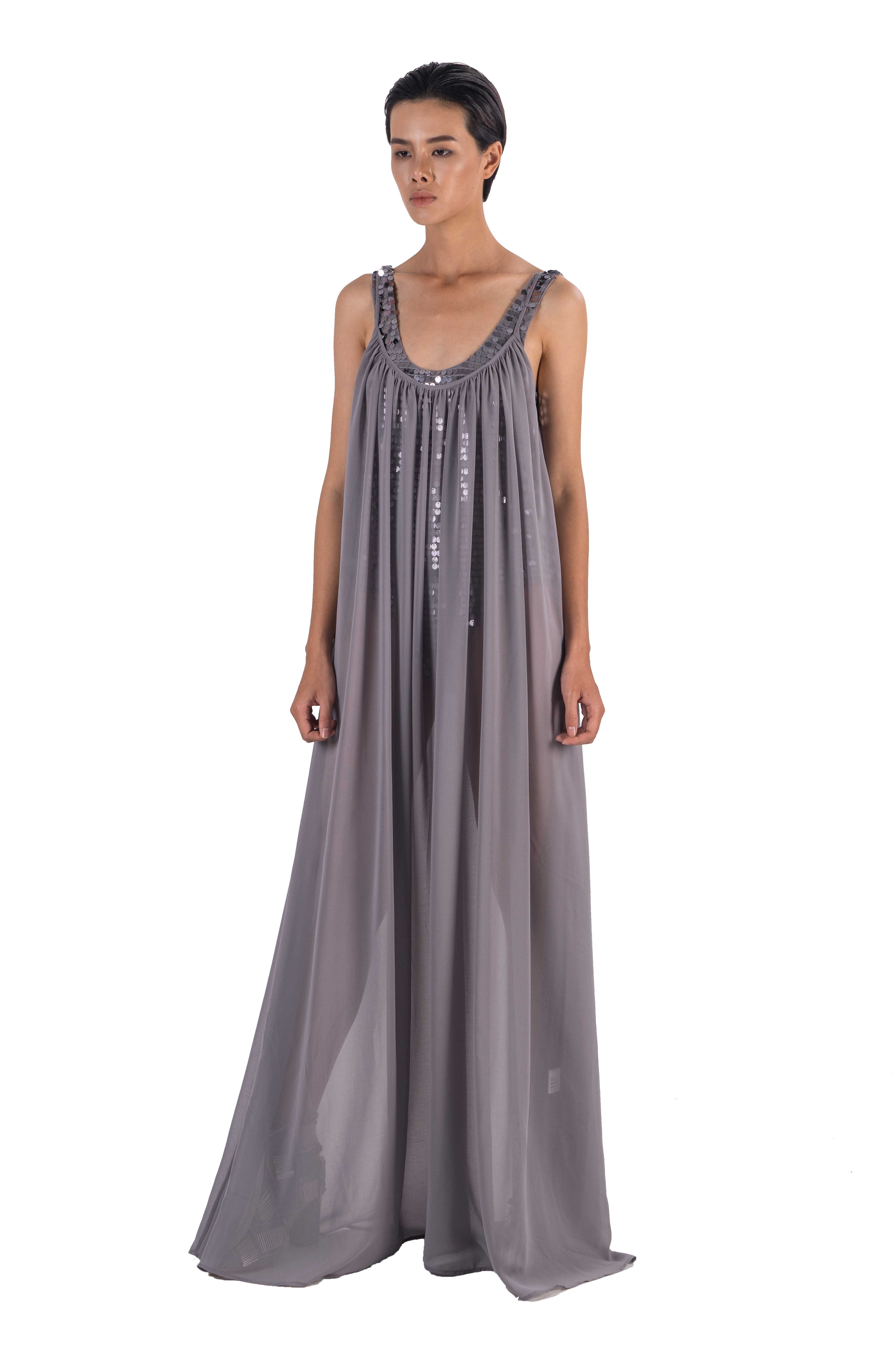 Grey chiffon maxi slip dress