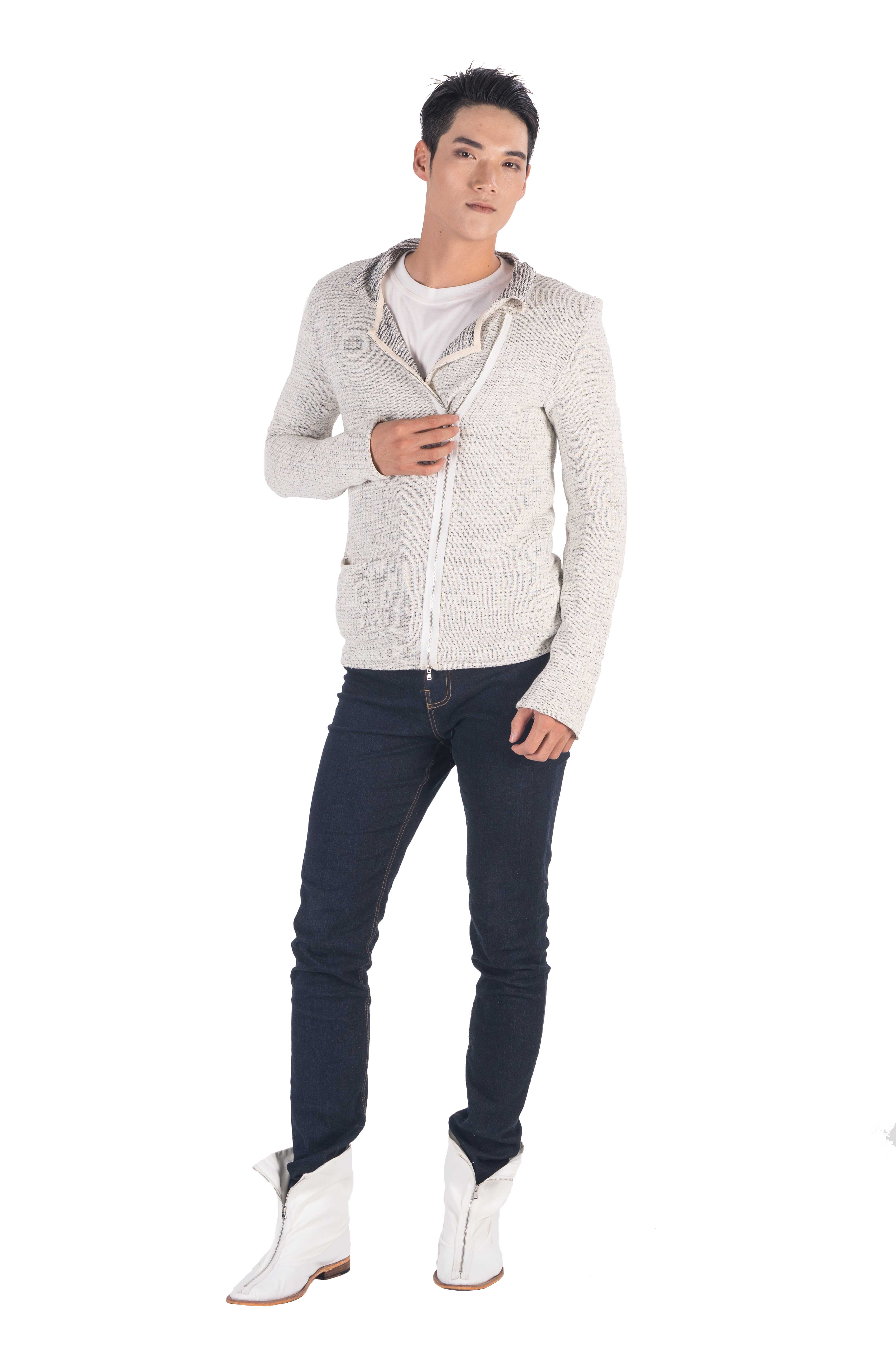 Cotton blend jersey  slim fit zip up biker cardigan