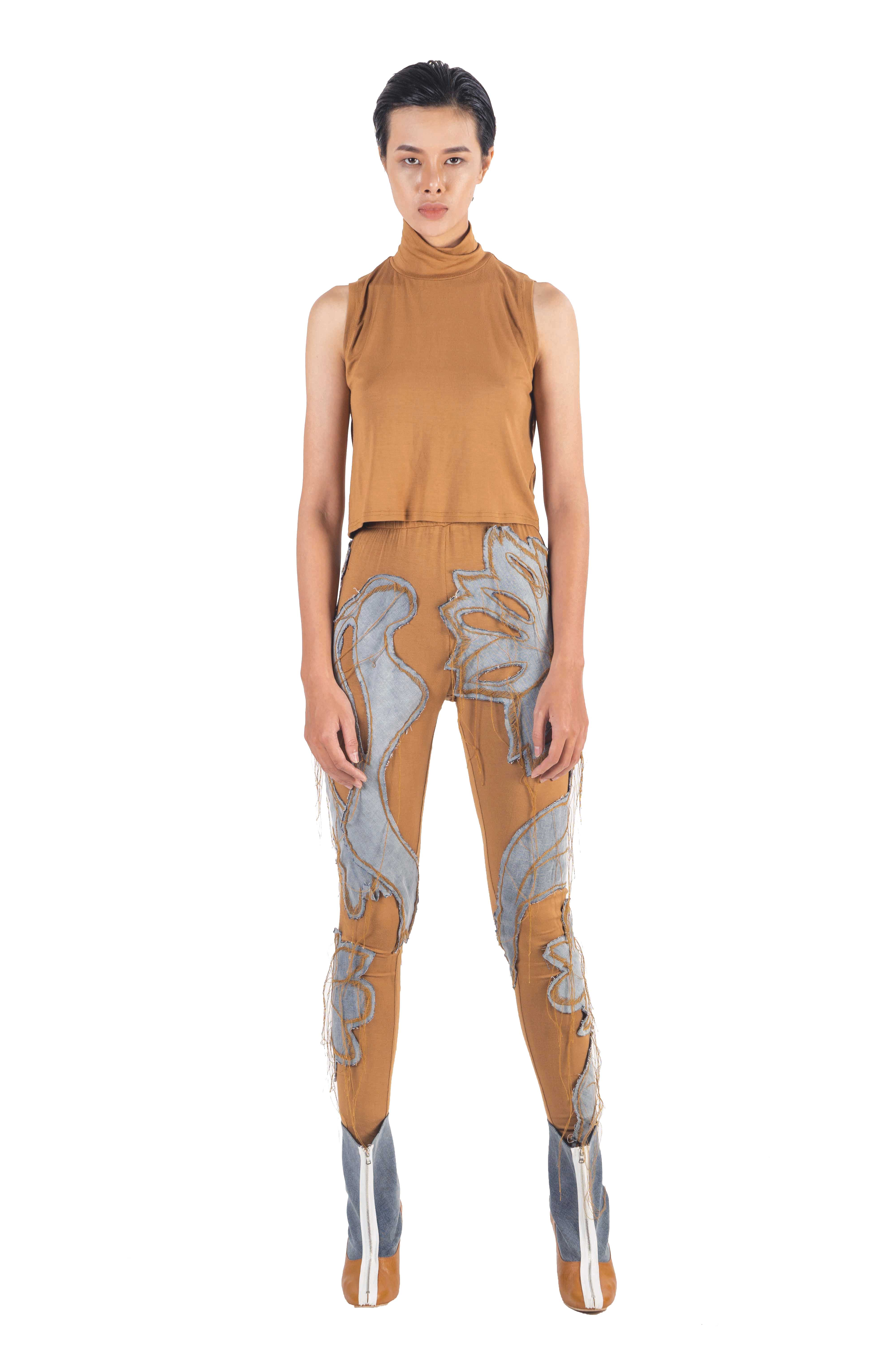 Brown leggings with washed denim hand applique