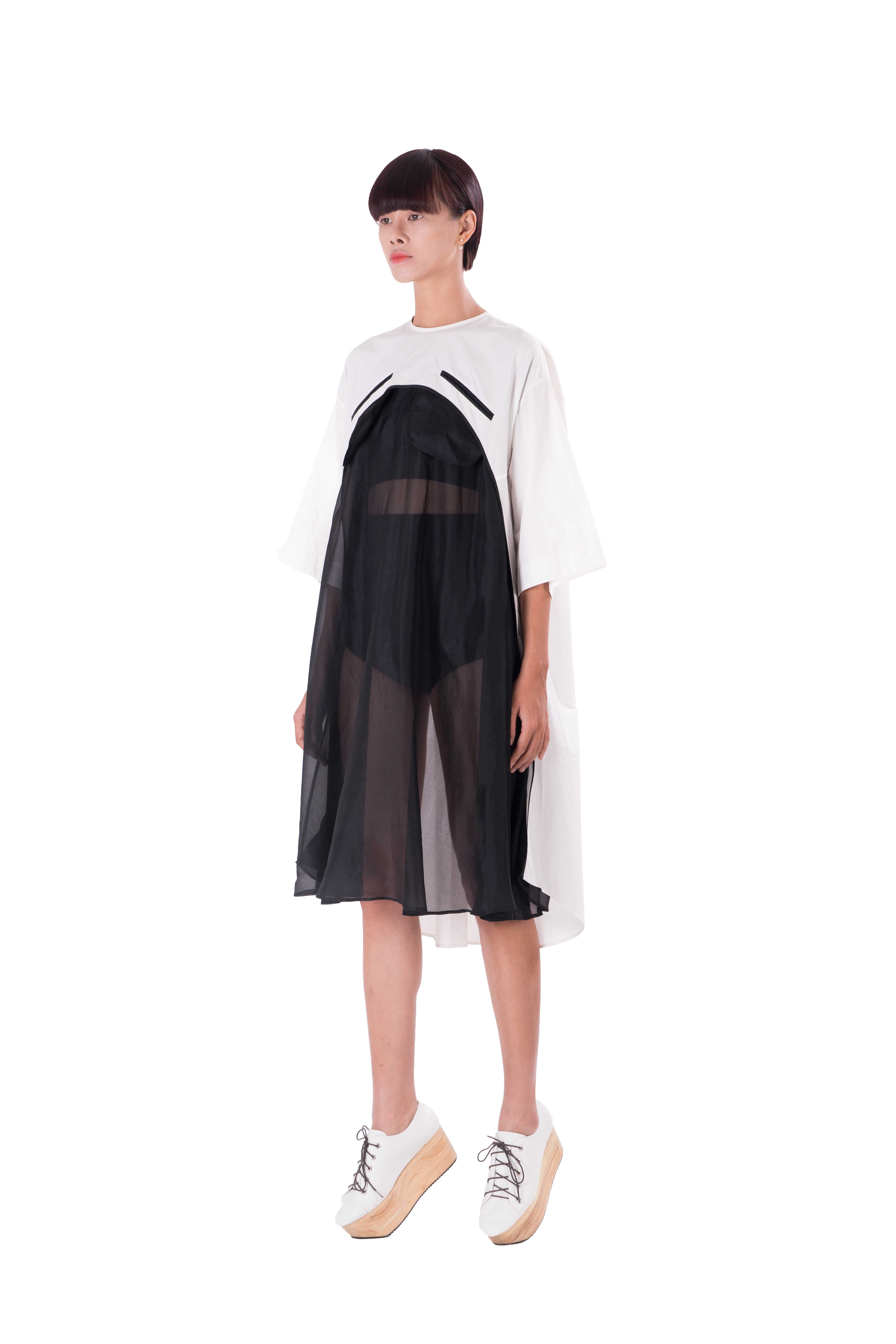 Black and white short sleeves kimono A line tunic