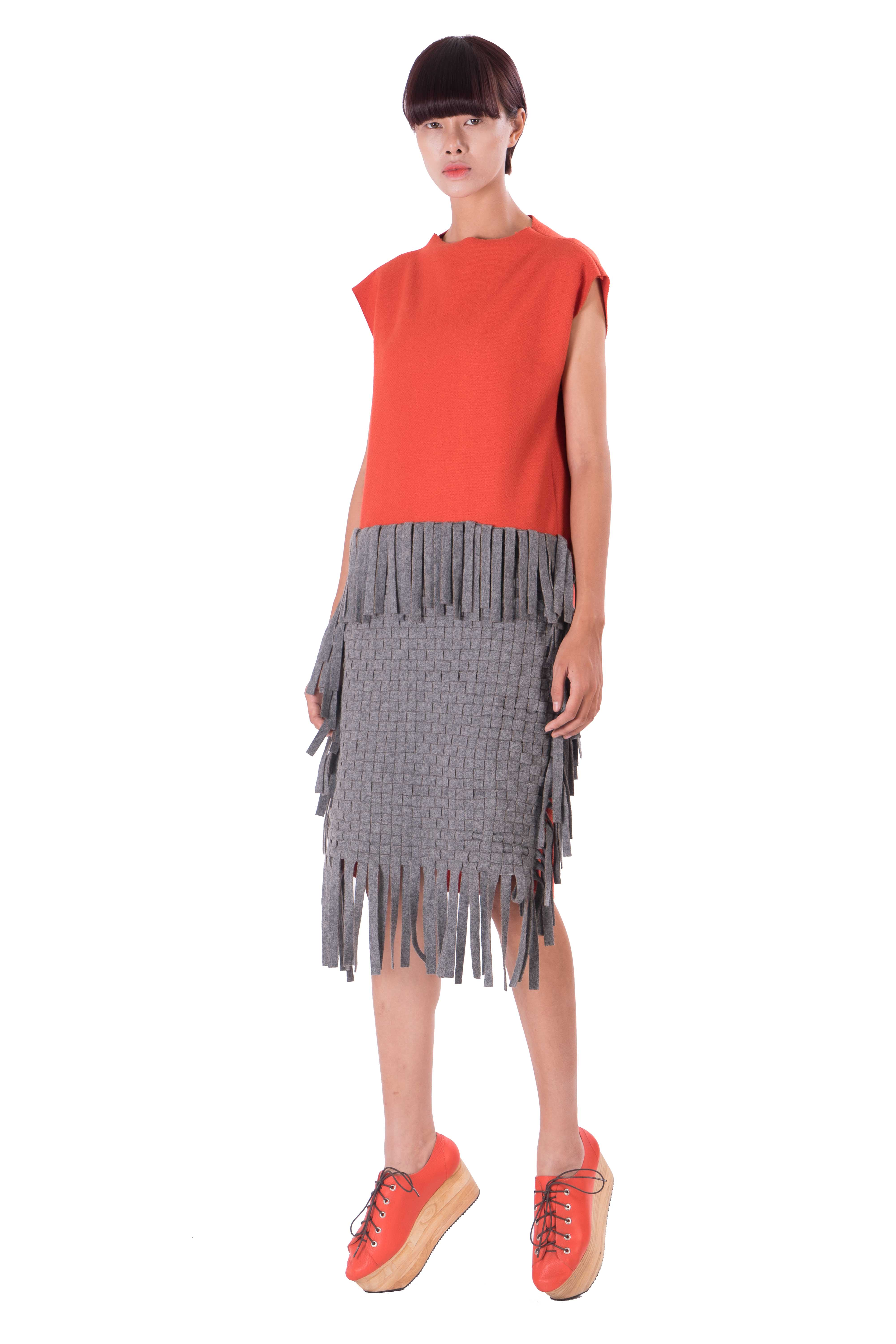 Women box dress with front hand woven panel